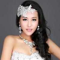 2013 Wedding Lace Crystal Hair Accessories Bridal Rhinestone Flower Headband Tiara Crown Fashion Party Jewelry For WomanWIGO0127