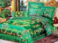 FREE SHIPPING Wedding bedding silk woven damask silks and satins piece bedding set dagor bragollach - green