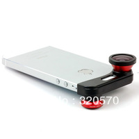 Red Wide Macro Lens + 180 degree Fish Eye Lens Fisheye Lens For iPhone 5G 5 Camera Free shipping