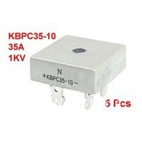 5pcs 1KV 35A Single Phase Diode Bridge Rectifier Silver Tone KBPC35-10 for PCB