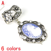 Min order $15 ,best design metal half tube with resin beauty girl charm for DIY scarf making slid findings ,free shipping PT-632
