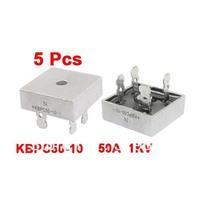 5 x Silver Tone Metal Case Single-Phase Bridge Rectifier 1KV 50Amp KBPC50-10