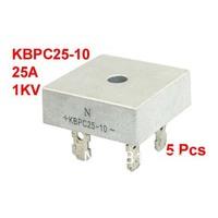 5 Pcs KBPC25-10 1KV 25A Single Phase Bridge Rectifier Half-Wave Silver Tone