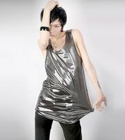 Free Shipping Personality casual fashion men summer shiny reflective sleeveless hip-hop fashion male vest