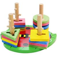 Wooden set column building blocks geometry shape child baby educational toys