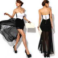 Fashion low cut dress sexy one-piece dress irregular ruffle tube top dress summer dress