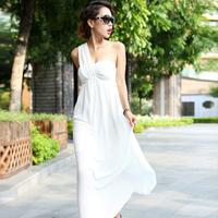 Fashion elegant sexy one-piece dress slim women's low-cut one shoulder full dress 2014 formal dress