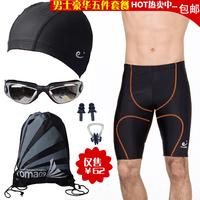 Mens fashion swimming trunk boxer male swimming cap goggles kit swimwear set