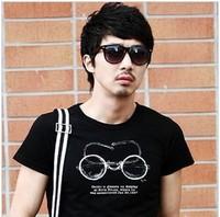 Free shipping 2013 new, men's brand 85% cotton T-shirt, 4 yards, black male Korean men's round neck bottoming shirt
