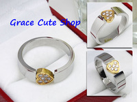 Free Shipping Fashion Brand Ring Crystal Heart Jewelry 2-Colors 1:1 Top Quality Package(Card,Original Box,Gift Box) #CTR45-Gold