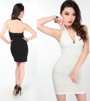 Fashion summer one-piece dress basic slim one-piece dress sexy one-piece dress V-neck racerback dress