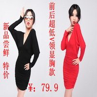 The anteroposterior 14 V collar sexy one-piece dress long-sleeve slim hip