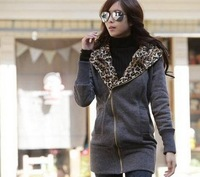 2013 Ladies' Free Shipping  Hot Sale  Leopard Hood Thicken Coat  QM13021801
