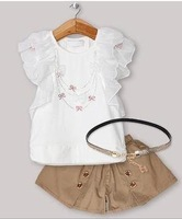 Wholesale - 2013 New Designer Baby Girls Clothing Set Lace T Shirt And Pants Fashion Kids Clothes send belt Free Shipping