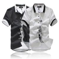 Free Shipping 2014 NEW Cotton Men's Shirts Short Sleeve Polka dot shirts Black white size M L XL XXL Wholesale and retail