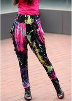 Free Shipping 2013 New Fashion Women's Fashion Multicolor Splash-ink Harem Pants Elastic Waist Print Loose Trousers