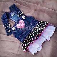 Free Shipping Dog Denim Dress Pink Sequin Heart Pocket (XS)