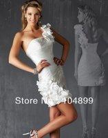 2013 New  White  Charming Mini Short One shoulder Wedding Dress Bridal Gown Custom Size:6/8/10/12/14/16