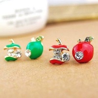 (Min order $10,can mix)  Free Shipping Rhinestone Apple Earrings jewelry Wholesale 1089
