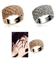 accessories shining full rhinestone finger ring luxury elegant ring paragraph