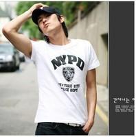 Free shipping 2013 new, men's brand 85% cotton T-shirt, 4 yards, White Shield Men's short-sleeved T-shirt
