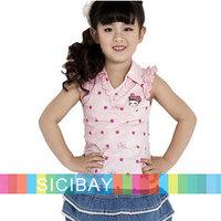 Retail new summer lace flower dot design t shirts girls tops baby sleeveless children T-shirt girl vest K0875