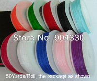 "Free P&P! 50yards/roll, Mixed 10 Colors, 500Yards in total 1/4""(6mm) Organza Ribbon Bow DIY Scrapbooking Ribbon Wedding Supplies"