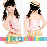 2014 summer lace design Peasant Tops girls clothing baby kids fashion vests pink yellow princess style K0876