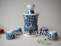 free shipping high quality blue and white Ceramic bar set japanese style sake pot wine glass 7pcs/set  wedding gifts for sale