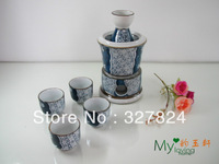 Top grade beautiful ceramic wine 7pcs/set gift wine glass packaging boxes free shipping sake pot four cups with wine warmer