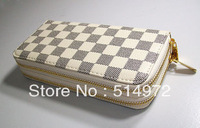 Best Selling!!2013 new fashion women's vintage plaid wallet ladies brand purses pu leather purse Free Shipping