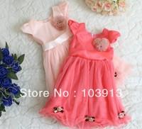 Free Shipping (3colors) 12pcs/lot Children Chiffon Princess Dresses Tulle Lace Dress