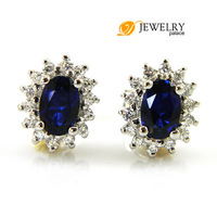 Wholesale Fashion Fine Jewelry Women 2.5ct Sapphire  Earrings Studs 925 Sterling Silver Free Shipping
