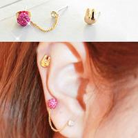 Min Order 12$ 2013 new arrival, rabbit ball rhinestone stud earrings, fashion jewelry ES0465