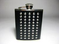 Outdoor stainless steel hip flask black rivet 6oz