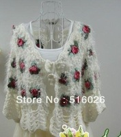 Free shipping Lady Crochet Coat/Outerwear/Cardigan -Deco with Big Flower-Length:54cm Shoulder:38cm Sleeve:35cm