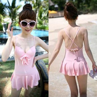 Pink tube top dress one-piece swimsuit wire small push up bow female swimsuit