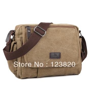 Male 100% cotton classic canvas bag man    fashion shoulder   messenger   multi-purpose