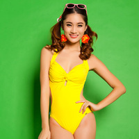 2013 one piece suspenders steel small push up long female swimwear