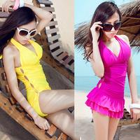 2013 one piece triangle split skirt mini yellow rose swimwear solid color women's none