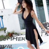 Female swimwear one piece placketing black dress style waist type hot spring swimsuit plus size