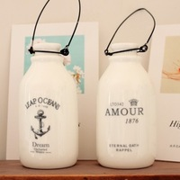 Min.order is $5 (mix order) Vintage milky  bottle vase