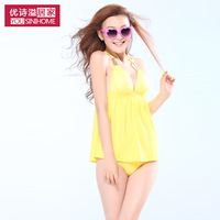 New arrival 2013 swimwear dress one piece size push up women's hot spring swimsuit