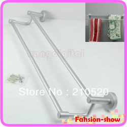 Space Aluminum Double Towel Sturdy Bar Holder Shelf Rack For Bathroom New Arrive(China (Mainland))
