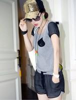Sportswear female 2013 t-shirt black patchwork shorts short-sleeve casual set twinset