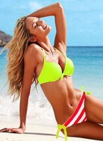 New Arrival Hot Strapy Swimwear Women Padded Green Top and Red Strip Bottom Bikini Set Sexy Lady Swimsuit Hot Sale Bathing Suit