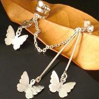 New Fashion 24PCS/lot Butterfly Tassel Earrings For Women , Silver Ear Cuff Earrings Ear Clip 0427134