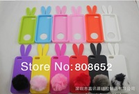 Wholesale 50pcs/lot Rabbit Bunny Rabito Rubber Silicon Case Cover for iPhone5 iphone 5 with Tail