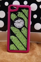 Hot! The clock twill diamond case for iphone4/4S-purple frame and green diamond