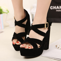 2013 fashion cross straps open toe wedges thick heel hasp female sandals women's platform shoes